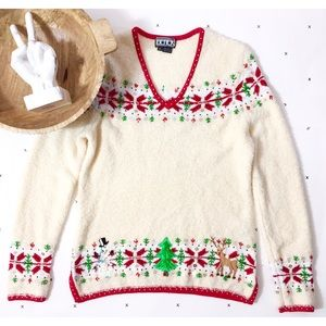 Berek chenille Christmas poinsettia beaded sweater